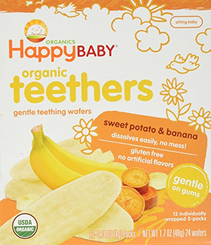 Happy Baby Organic Teethers, Banana and Sweet Potato, Gentle Teething Wafers, 12-1.7oz. Packets, Soothing Rice Cookies for Teething Babies, Dissolves Easily, Organic, No Gluten or Artificial Flavor Infant New Potatoes