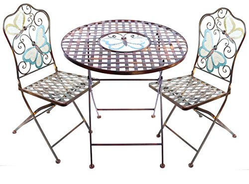 Alpine Butterfly Table and Two Chairs Bistro Set, 29 Inch Tall