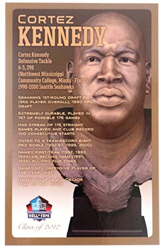 PRO FOOTBALL HALL OF FAME Cortez Kennedy Seattle Seahawks NFL Bronze Bust Set Card (Limited Edition 1 of 150) with COA
