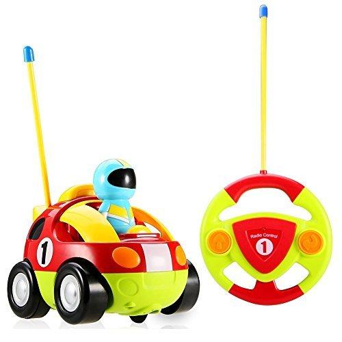 Yojoloin RC Cartoon Racer Car Control Remoto Juguete de policí a con Musical y luz Mejor Regalo de cumpleañ os para niñ os pequeñ os Tod Rojo
