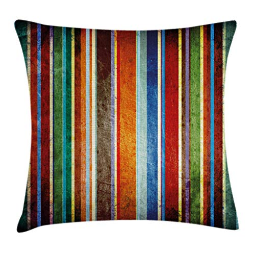 Ambesonne Stripes Throw Pillow Cushion Cover, Vertical Lines Colorful Retro Bands with Damage Effects Old Fashion Weathered Display, Decorative Square Accent Pillow Case, 24 X 24 Inches, Multi