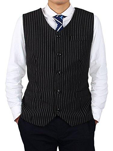 Yodensity Herren Streifen V-Ausschnitt Elegant Basic Einreiher Business Anzugweste Schlank Weste