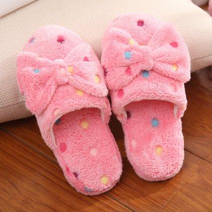 Y-Hui Butterfly pantofole di cotone Lady inverno caldo cotone trascina Home Indoor antislittamento pantofole in lana,36-37 (35-36),Rosa