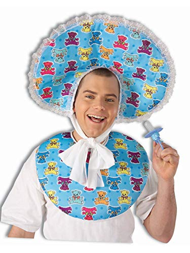 Forum Novelties Men's Big Baby Boy Deluxe Costume Accessory Bib and Bonnet Set, Blue, One size]()