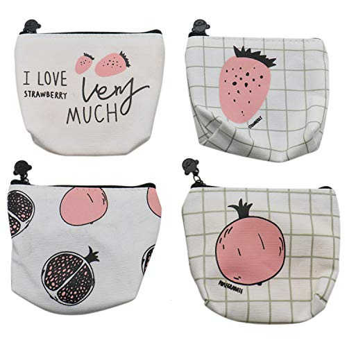 IDS Set of 4, Small Cute Canvas Coin Purse Change Pouch Zipper Wallet Card Case Key Wallet for Girls and Women, with Pomegranate and Strawberry Patterns