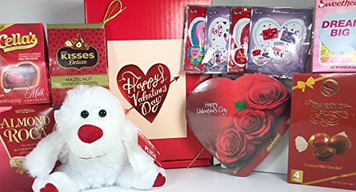 Valentine's Day Gift Box Basket - Heart Shaped Boxed Chocolates and Much More - 8 Items - For Men, Women, and Children - Send Your Love to Your Valentine Sweetheart Today! PRIME
