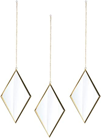 Wall Decor Mirror Small Wall Mirror 6x10inch Set Of 3 Apartment Decor Wall Art Available In Gold Decorative Living Room Wall Mirrors Amazon Co Uk Kitchen Home