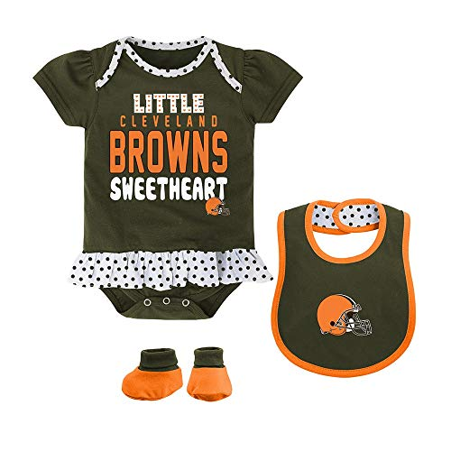 Outerstuff NFL Cleveland Browns Girls Little Sweet Bib and Booty, Brown Suede, 18 Months