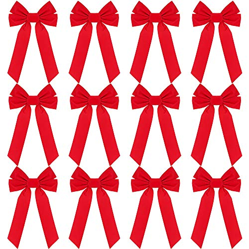 RUBFAC Red Velvet Christmas Bows 9 X 16 Inches 12 Pack Christmas Wreath Bows for Christmas Tree Garland Window Wall Large Gifts, Indoor Outdoor Holiday Decorations (Range Outdoor Garland)