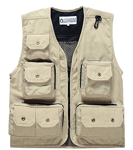 Wantdo Unisex Multiple Pockets Canvas Mesh Sports Vest US Medium White