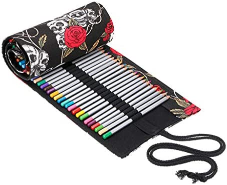 Black Art Brush Roll-up Bag Pencil Wrap Coloring Brush Organizer Holder for Kid Adult Children Canvas Paint Brush Wrap Roll up Bag