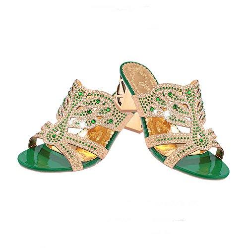 Crystal Scarpe Alti Scarpe Toe Sexy con Party Donna Italily Strass Pantofole Donna Tacchi Open da Verde Sandali Sandali Infradito 4W7w6qd