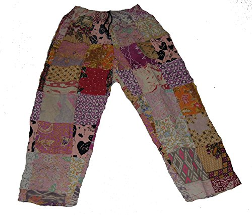 Old Indonesia Batik - Fair Trade Patchwork Trousers Real Patches in Old Batik Material by Terrapin (Large)