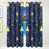 Vantaso Light Shading Window Curtains Abstract Stars On Blue Sky Polyester 2 Pannels for Kids Girls Boys Bedroom Living Room 84 inch x 55 inch