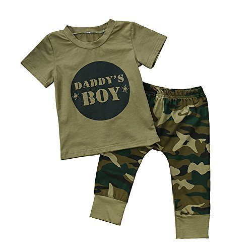 GRNSHTS Baby Girls Boys Daddy's Baby Camouflage Pants Set (80/6-12 Months, Daddy's (Baby Camo)