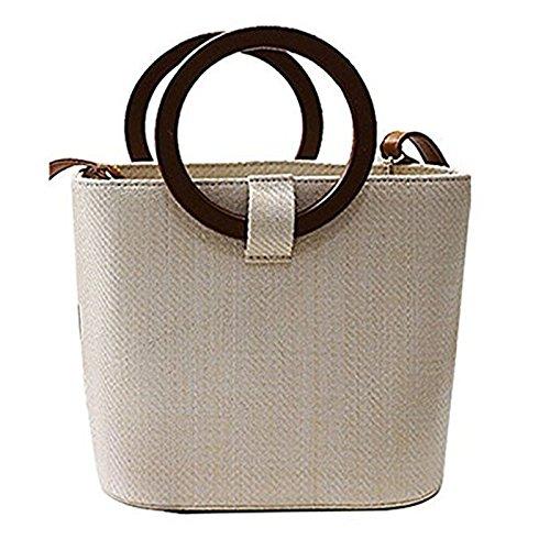 Women Straw Bucket Bag | Travel Shopping Wood Handle Tote | Top Handle Cross-body Shoulder Handbag US Seller - Shopping Wood