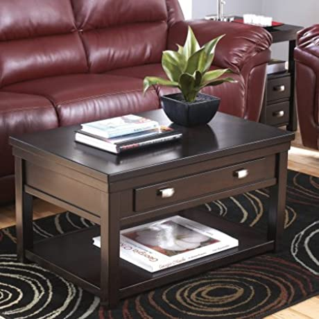 Wood Lift Top Cocktail Coffee Table Hidden Storage Rectangle Shape Space Saver Work Space Home Furniture Living Room Family Room Espresso Finish