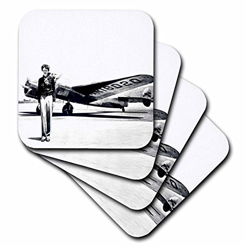 3dRose Old Photo of Amelia Earhart with Lockheed Electra Model 10 - Soft Coasters, Set of 8 (CST_62531_2) ()