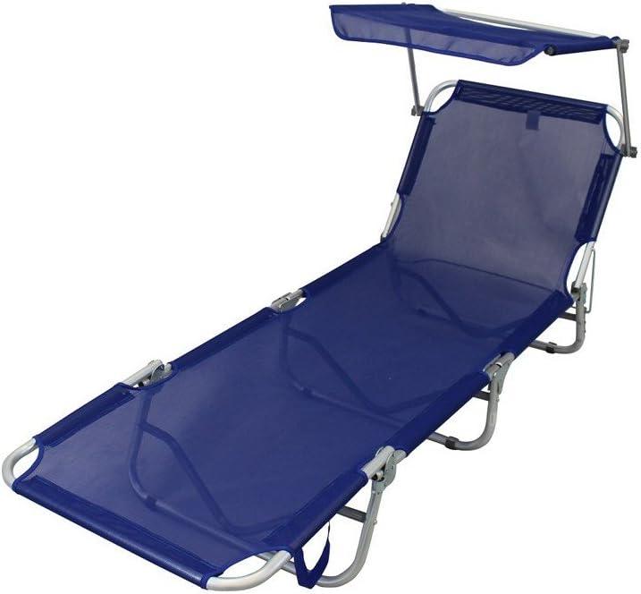 MilaniHome Brandina Pieghevole Campeggio Lettino Sdraio con Tettuccio in Alluminio E Textilene Blu per Spiaggia Mare Piscina Giardino