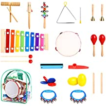 Ohuhu Kids Musical Instruments, 20 pcs Music Rhythm Percussion Set Children Kid Toy Tambourine Xylophone, Storage Backpack Included, CPSC Approved