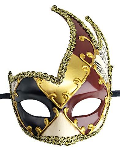(Coolwife Men's Masquerade Mask Vintage Venetian Checkered Musical Party Mardi Gras Mask (Surrounding)