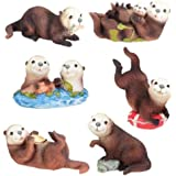 Sea Otters (Set of 6) - Collectible Figurine Statue Sculpture Figure