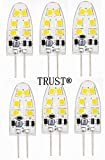 TRUST® 6 PACK Newest G4 2.5W 12SMD2835 (15-18W replacement) Base 8-30V AC/DC LED Light Bulb Replacement -Tower Type for RV Campers, Trailers, Boats, and Under-cabinet Lights,White