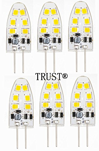 TRUST 6 PACK Newest G4 12SMD2835 2.5W (15-18W replacement) Base 8-30V AC/DC LED Light Bulb Replacement - Warm White Color - Tower Type ji-Pin 15-18 Watt Halogen Replacement for RV ()