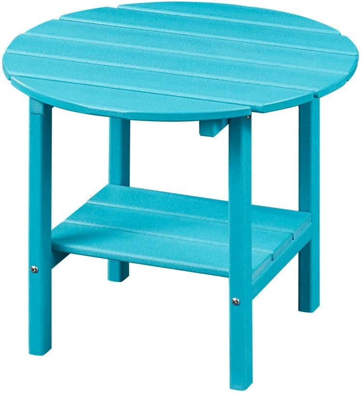 Ehomexpert Outdoor Side Table-Adirondack Portable Rectangular End Table for The Beach, Camping, Picnics, Cookouts and More, HDPE Hard Plastic, Blue: Kitchen & Dining