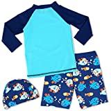 HONISEN Boys Two Piece Rash Guard Swimsuits Kids
