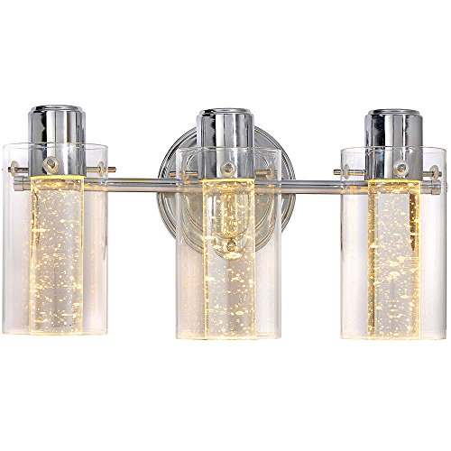 Polished Bubble Glass Triple Light Sconce Fixture | Glass Surrounded LED Lighting Fixture | Vanity, Bedroom, or Bathroom | Interior Lighting ()