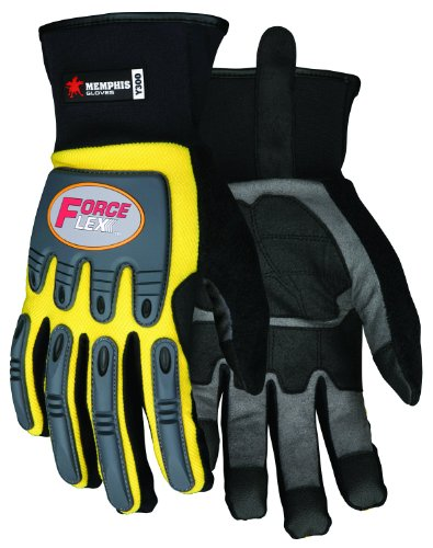 - MCR Safety Y300L ForceFlex Clarino Synthetic Leather Gloves with Neoprene Slip-On Cuff, Yellow/Black, Large, 1-Pair