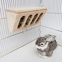 Natural Small Animal Hay Feeder Rack and Chew Toy Set, Pet Supply Woven Grass Accessories for Bunny Rabbits Guinea Pigs…