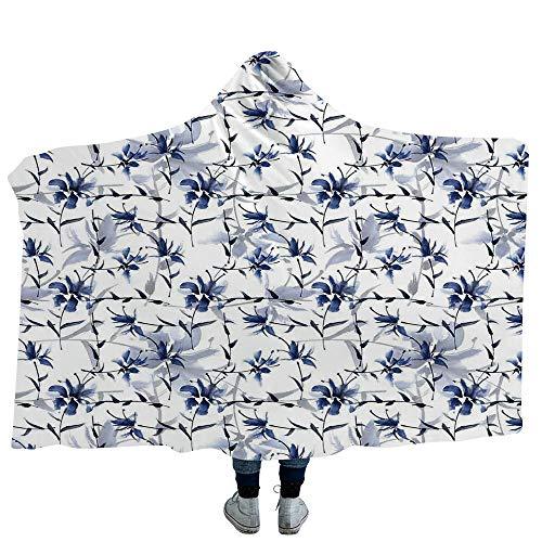 MASCULINTY Hoodie Wearable Blanket Zebra Print Super Soft Warm Comfy Large Fleece Colorful Butterflies on Zebra Abstract Print Summer in Jungle Floral Art Decorative (Kids 50