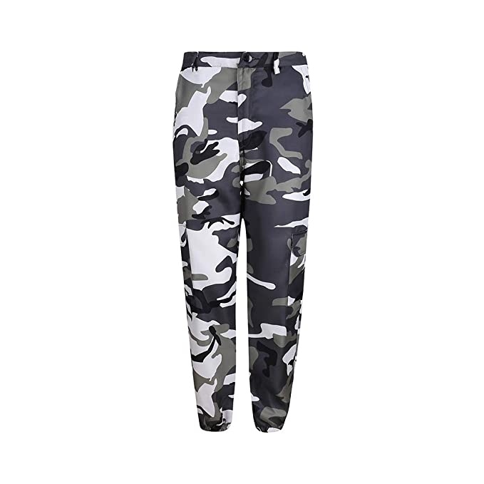 2bd17eb9c1e4f Image Unavailable. Image not available for. Color: papasgix Womens High  Waist Jogger Pants Camouflage Camo Pants Sweatpants Cargo Trousers Casual  Streetwear ...