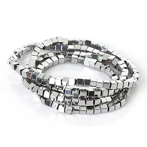 jennysun2010 Natural Hematite Gemstone Square Cube 2mm Metallic Silver Beads 15.5'' Healing 1 Strand for Bracelet Necklace Earrings Jewelry Making Crafts Design ()