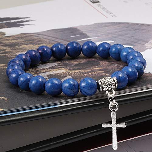 RQQDSZ Charms Blue Turquoises Stone Alloy Pendant Cross Bracelets for Unisex Black Onyx Volcano Matte Beaded Men Bracelet ()