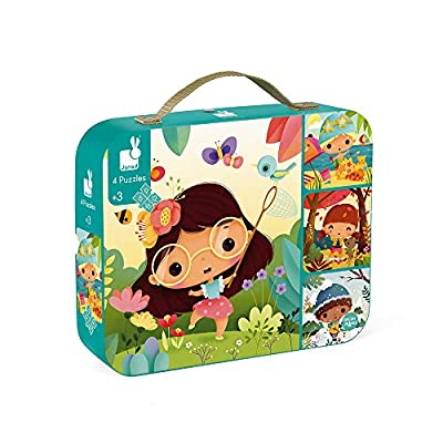 Janod 4 Progressive 4 Seasons Jigsaw Puzzles 6, 9, 12 & 16 Piece - Encourages Shape Recognition, Dexterity, and Language Development - Preschool Kids 3 Years+: Toys & Games