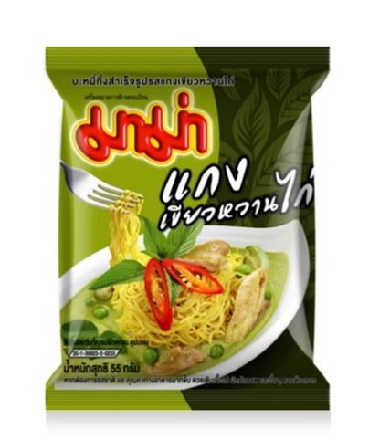 [Mama instant noodles Chicken Green Curry Flavor Thai original spicy NetWt 55G (1.94 Oz) x 6 Packs] (Milk Eggs Cheese Costume)