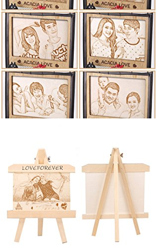 photo Frame Carved on the board Wedding birthday present Customize Christmas gift (Bracket 6) by JEYKAY (Image #6)