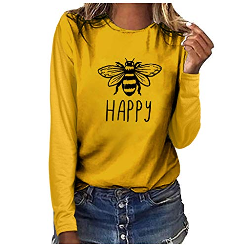 ★ Futurelove ★ ⭐ Women's Blouse,Women's Cute Bee Graphic Tees Casual Long Sleeve Happy Letter Top Girls Plus Size T-Shirt