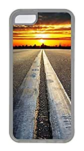 iPhone 5C Case, Customized Protective Soft TPU Clear Case for iphone 5C - Road Sunset Cover