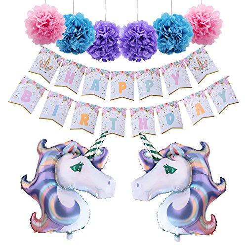 AMZTM Unicorn Themed Birthday Party Decorations Kit 1 Piece Unicorn Happy Birthday Bunting Banner + 6 Pieces 12'' Paper Pom Poms + 2 Pieces 40'' Unicorn Mylar Balloons