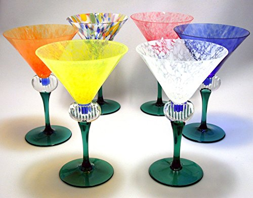 Kusak Cut Glass Works Rainbow Jubilee Martini Glass Set (6) by Kusak Cut Glass Works