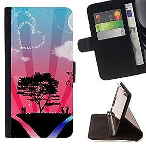 Momo Phone Case / Flip Funda de Cuero Case Cover - Corazón Pareja ?rbol de amor del cielo Naturaleza Romance - Samsung Galaxy S6