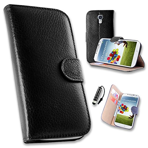 32nd Premium Book Style Opening Leather Wallet Case Cover for Samsung Galaxy S4 GT-i9500, Bundle Includes Real Leather Case, Screen Protector, Cleaning Cloth and Touch Screen Stylus Pen - Black