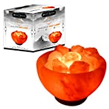 Whiteswade Himalayan Salt Lamp Signature 'Rumeisa Firebowl' Shape with Salt Chips, 6ft UL-Approved Dimmer Switch and Bulb. Authentic Himalayan Crystal Rock