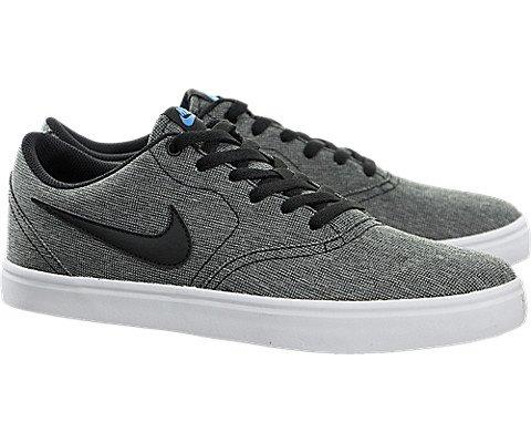Nike Men's SB Check Solarsoft Canvas Skateboarding Shoe, Black/Black-White-Photo Blue, 10 M US