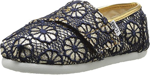 TOMS Kids Unisex Seasonal Classics (Infant/Toddler/Little Kid) Gold Crochet Glitter Loafer