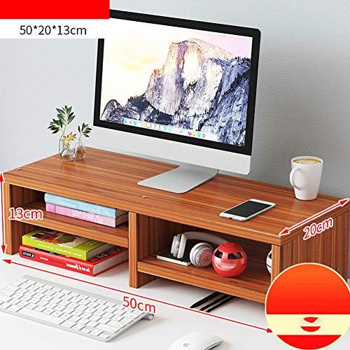 TopJia Escritorio Ordenador Soporte para Monitor,Teclado Almacenamiento Escritorio Organizador,ergonomico Madera Elevador del Monitor Sandalo Antiguo 2 Nivel-b